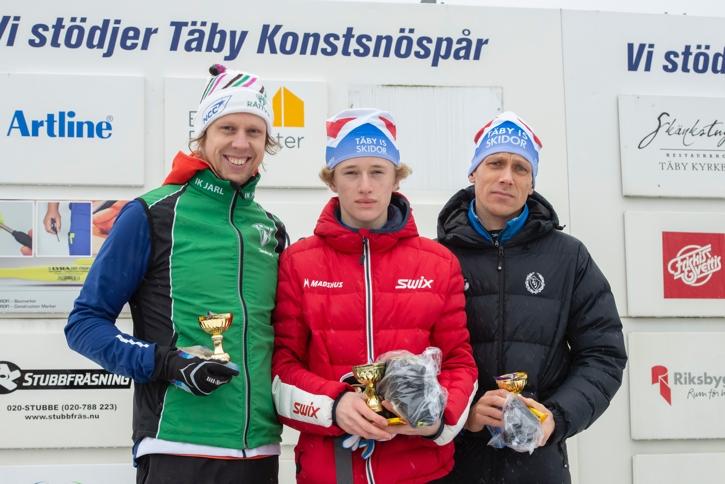 Topptrion i H 17-klassen. Fr.v. tvåan Adam Johansson, ettan Calle Rune och trean Pelle Fochsen. FOTO: Bengt Lord.