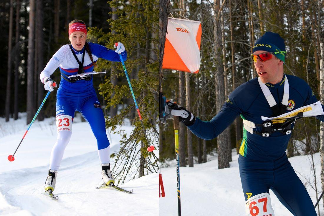 IFK Mora OK:s Magdalena Olsson och Alfta Ösa OK:s Erik Rost åkte hem varsitt silver när EM i skidorientering startade med sprint på onsdage. FOTO: Bildbyrån.