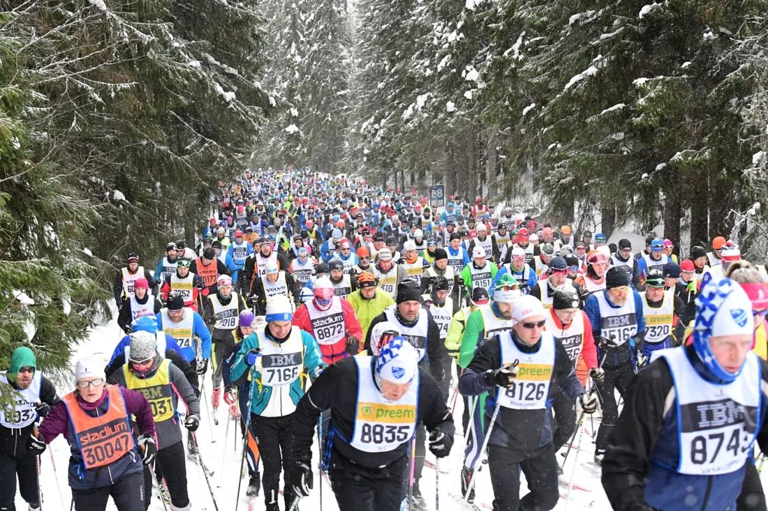 60 000 deltagare från runt 60 nationer är nu anmälda till något lopp i Vasaloppets vintervecka. FOTO: Vasaloppet.