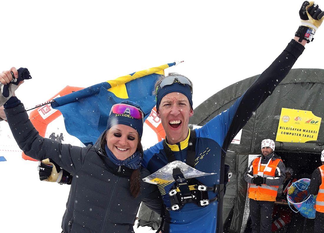 Magdalena Olsson och Erik Rost grejade båda guld på medeldistansen vid EM i skidorientering i Turkiet. FOTO: Svenska orienteringsförbundet.