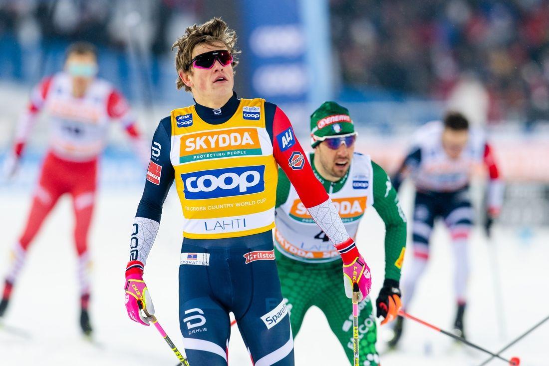 Johannes Hösflot Kläbo kommer till VM som klar huvudfavorit till sprintguldet. Idag vann norrmannen närmast före italienaren Federico Pellegrino i Lahtis. FOTO: Johanna Lundberg/Bildbyrån.