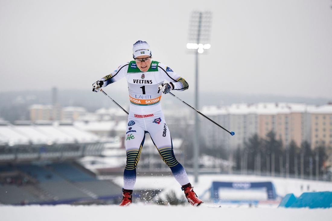 Hanna Falk åkte till sig en plats till VM-sprinten vid dagens världscupetävlingar i Lahtis. FOTO: Johanna Lundberg/Bildbyrån.
