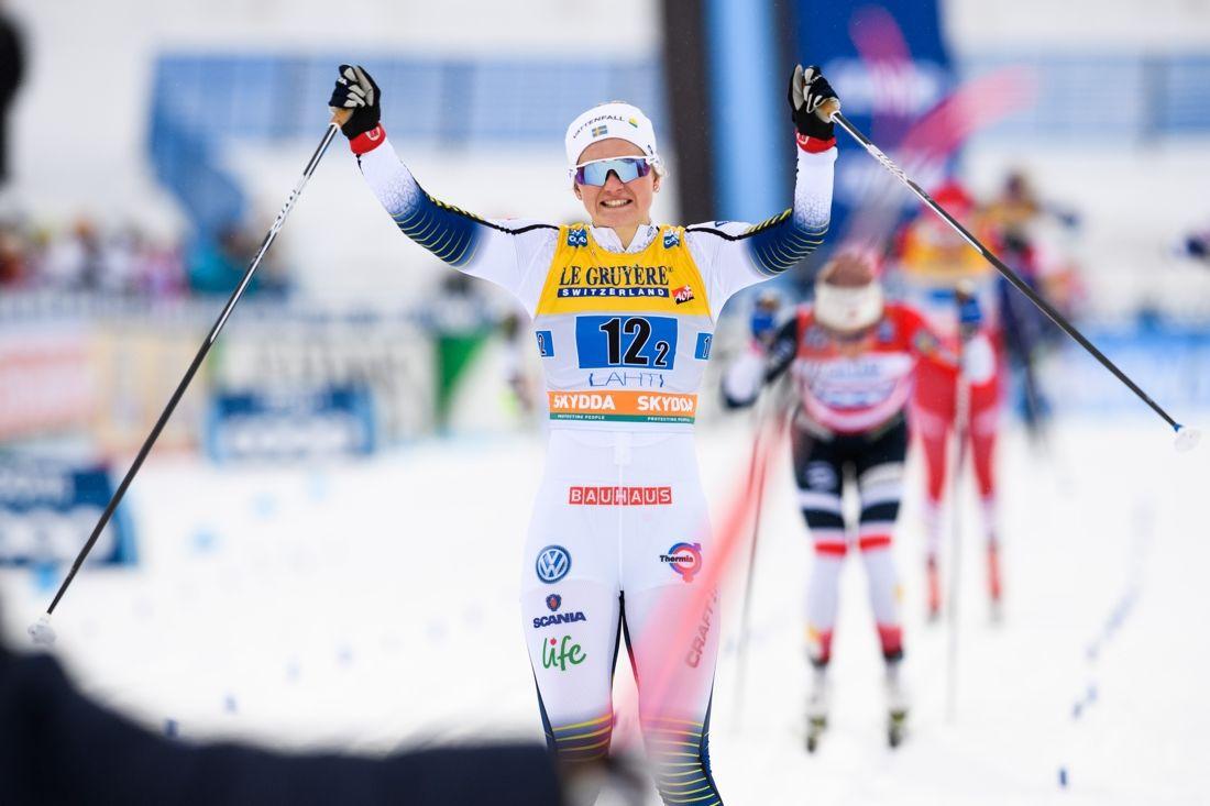 Maja Dahlqvist var klart vassast på teamsprintens slutsträcka i Lahtis. FOTO: Johanna Lundberg/Bildbyrån.