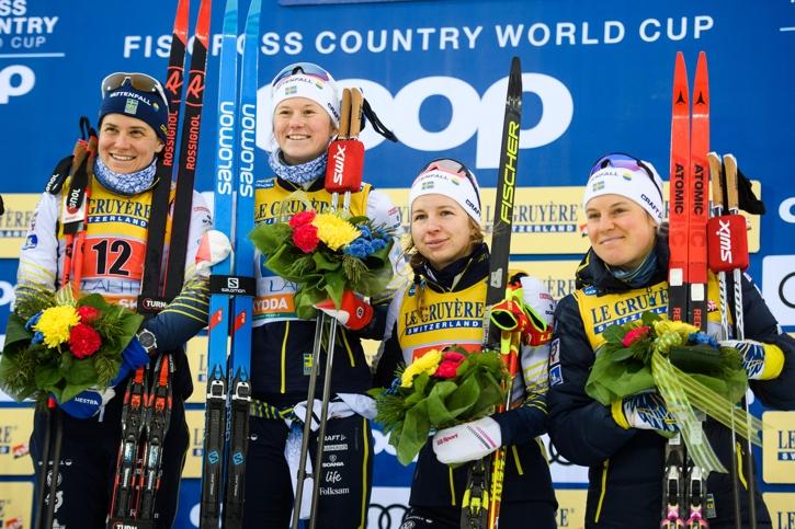 Segrarna Maja Dahlqvist och Ida Ingemarsdotter samt treorna Evelina Settlin och Hanna Falk. FOTO: Johanna Lundberg/Bildbyrån.