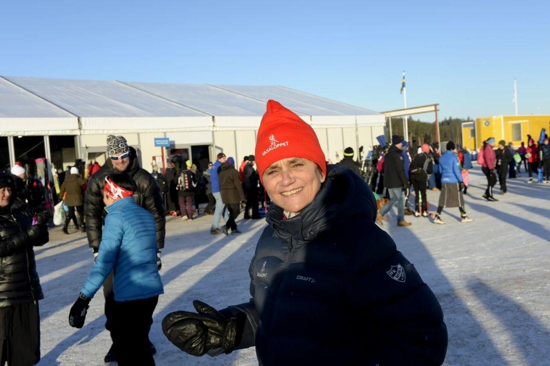 Vasaloppets VD Eva-Lena Frick är glad över att merparten av Vasaloppets uppvärmning är helt fossilfri under 2019. FOTO: Vasaloppet.