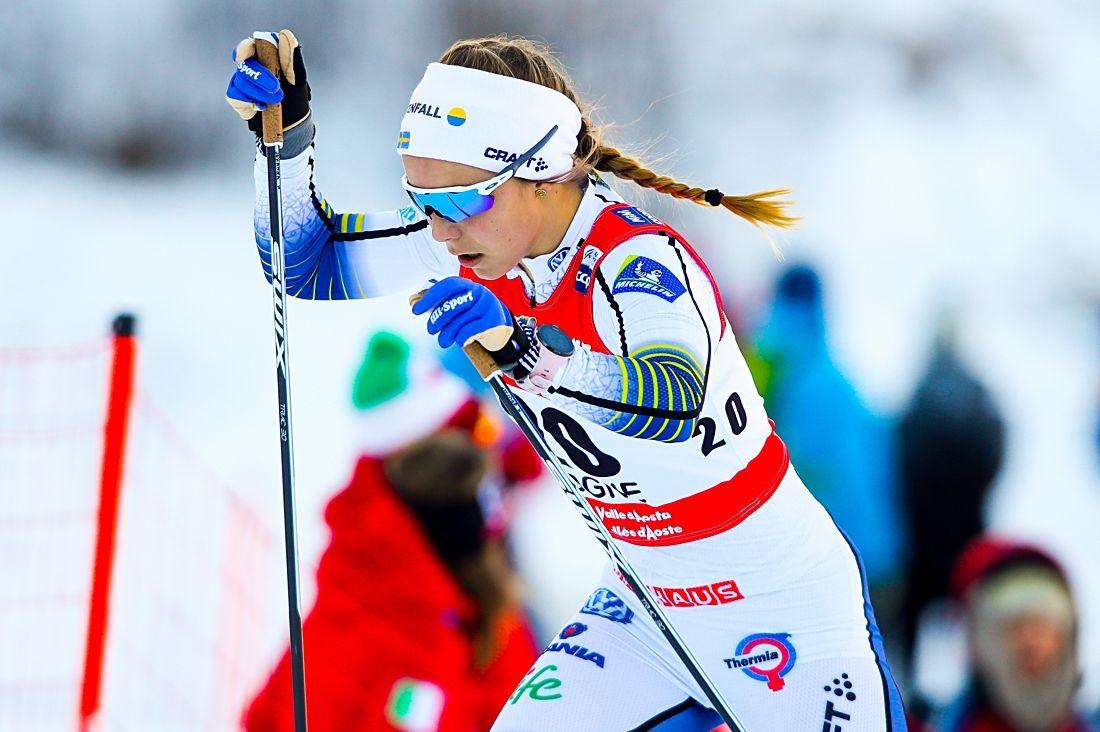 Johanna Hagström imponerade med en tredjeplats på världscupsprinten i Cogne, Italien. FOTO: GEPA pictures/Matic Klansek/Bildbyrån.