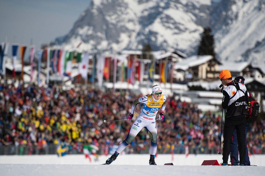 Maja Dahlqvist var snabbast i sprintprologen vid VM Seefeld. FOTO: Joel Marklund/Bildbyrån.