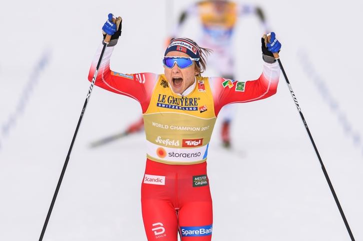 Maiken Caspersen Falla försvarade sitt VM-guld från 2017. FOTO: Vegard Wivestad Grött/Bildbyrån.