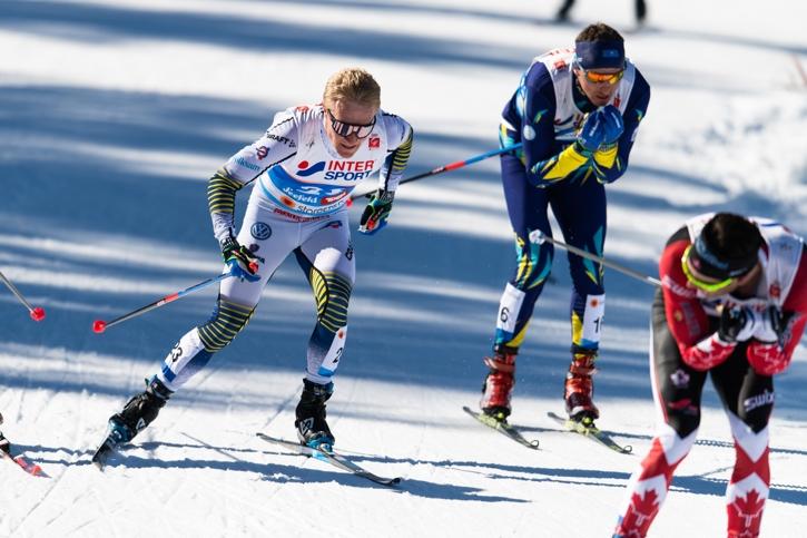 Jens Burman slutade på tionde plats. Här är han intill Alexey Polotoranin som blev elva och Alex Harvey som slutade sexa. FOTO: Joel Marklund/Bildbyrån.