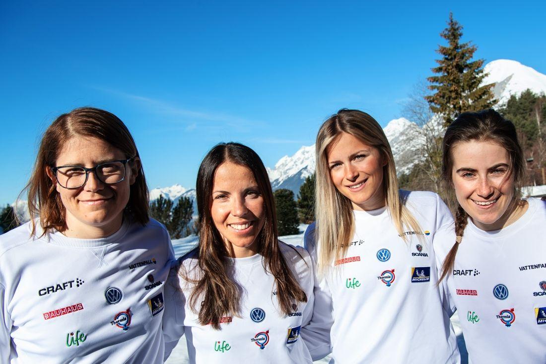 Sveriges kvartett på 10 kilometer klassiskt på VM i Seefeld: Ida Ingemarsdotter, Charlotte Kalla, Frida Karlsson and Ebba Andersson. FOTO: Joel Marklund/Bildbyrån.