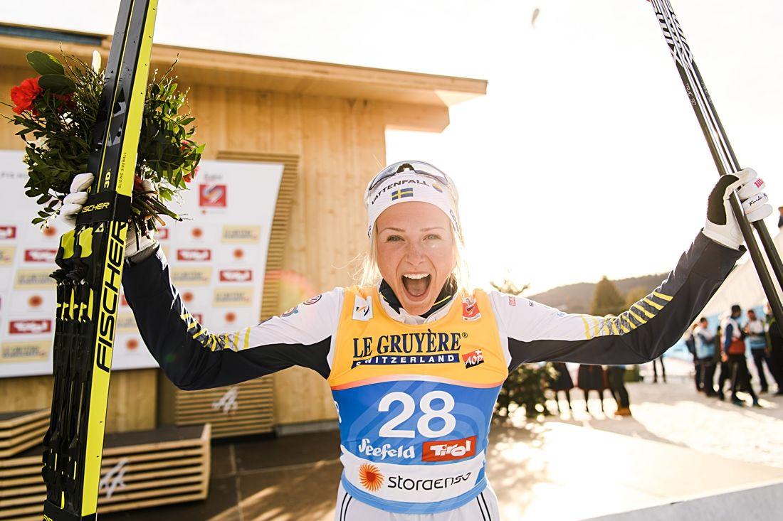 Silverjubel från Frida Karlsson efter hennes fantastiska lopp på 10 kilometer klassiskt vid VM i Seefeld. FOTO: Joel Marklund/Bildbyrån.