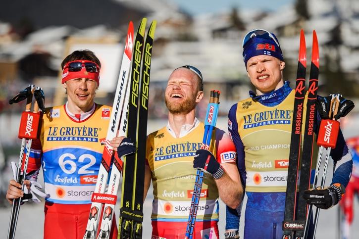 Medaljtrion Aleksandr Bessmertnykh, Martin Johnsrud Sundby och Iivo Niskanen. FOTO: Joel Marklund/Bildbyrån.