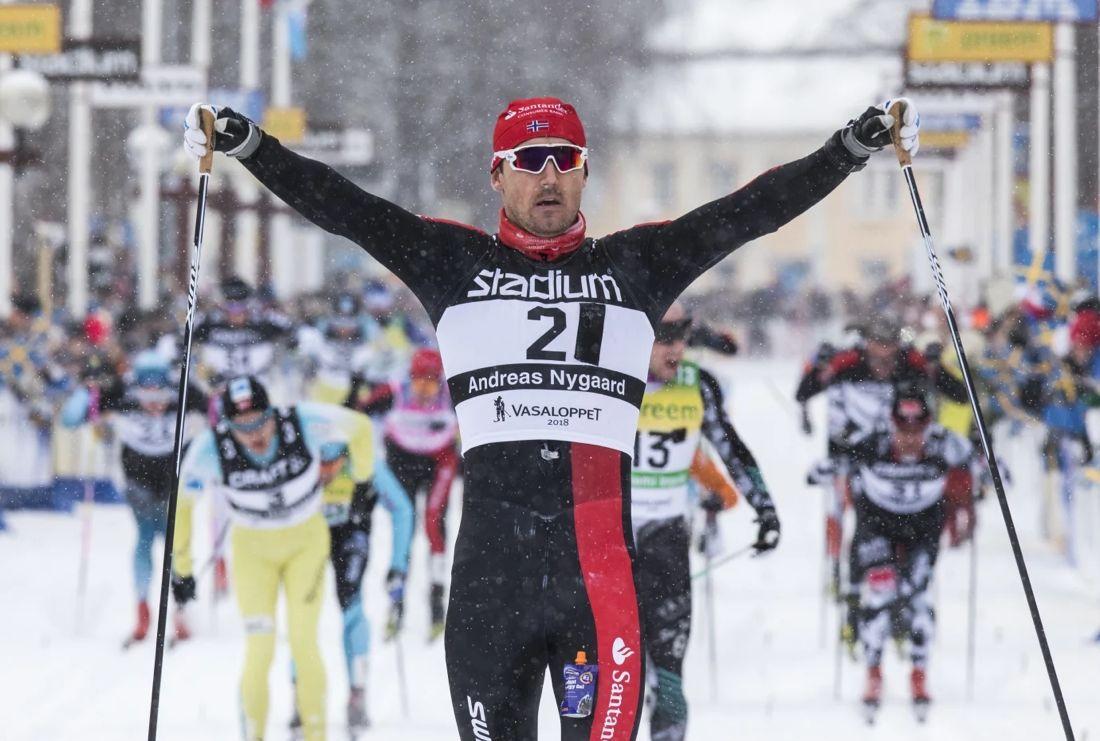 På söndag är det dags för 95:e Vasaloppet. I fjol var Andreas Nygaard först över mållinjen. FOTO: Vasaloppet.