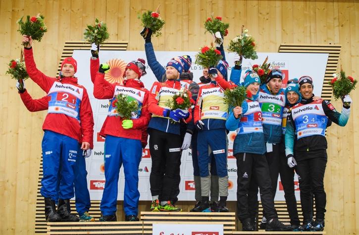 Prispallen med silverlaget Ryssland, guldgänget från Norge och glada fransmän som grejade bronset. FOTO: Joel Marklund/Bildbyrån.