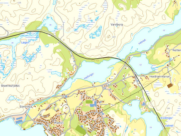 Kart over brann Hellvik