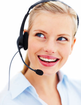 Friendly young woman talking on headset