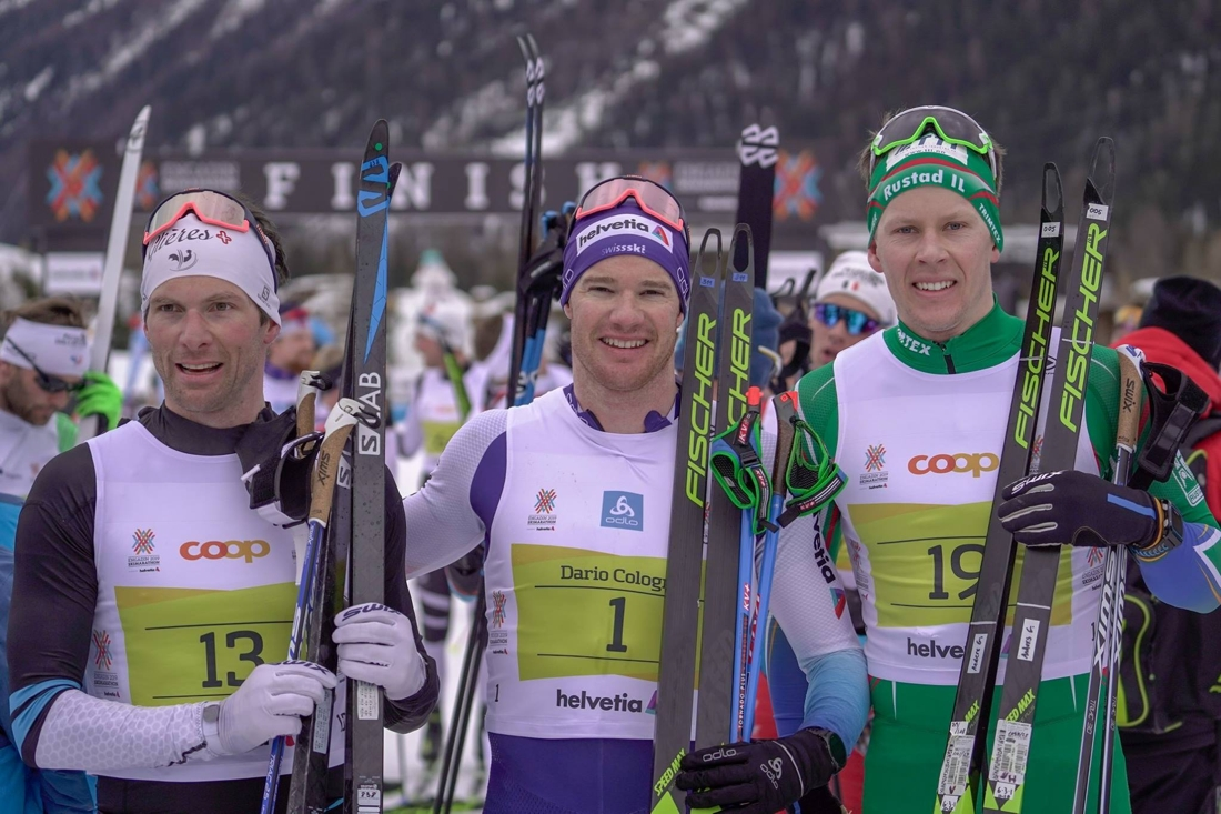 Topp tre på herrsidan i Engadin skimarathon: tvåan Jean-Marc Gaillard, ettan Dario Cologna och trean Anders Glöersen. FOTO: Magnus Östh.