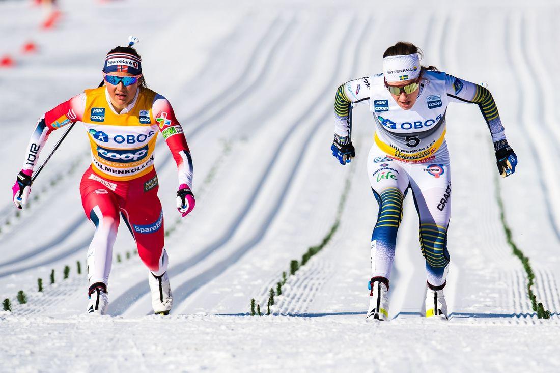 Ebba Andersson spurtade in som trea precis före Ingvild Flugstad Östberg. FOTO: Jon Olav Nesvold/Bildbyrån.