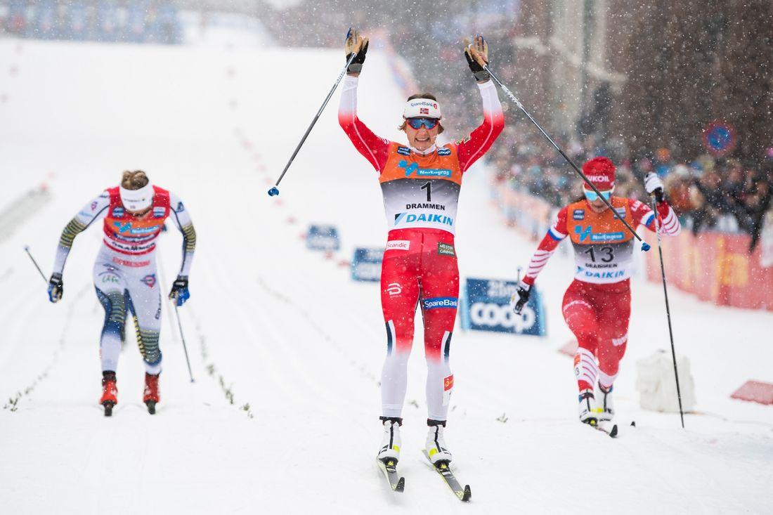 Maiken Caspersen Falla vann i Drammen och Stina Nilsson slutade fyra. FOTO: Vegard Wivestad Grött/Bildbyrån.