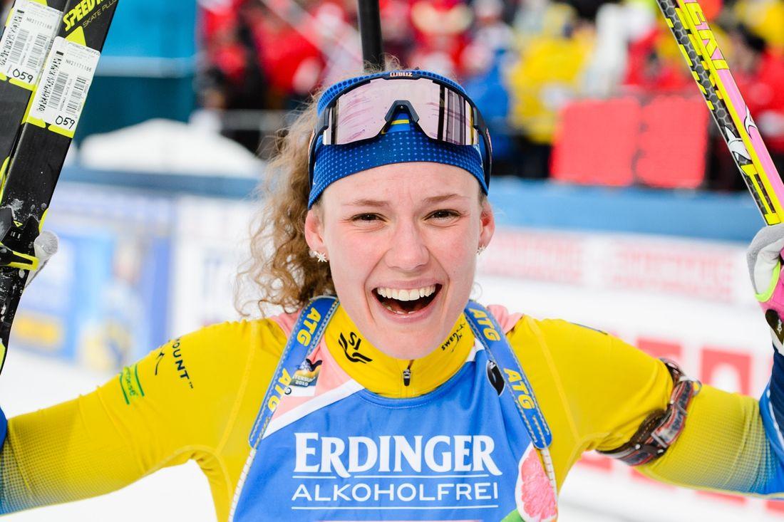 Hanna Öberg sköt fullt och åkte hem VM-guld på distansloppet över 15 kilometer. FOTO: Petter Arvidson/Bildbyrån.