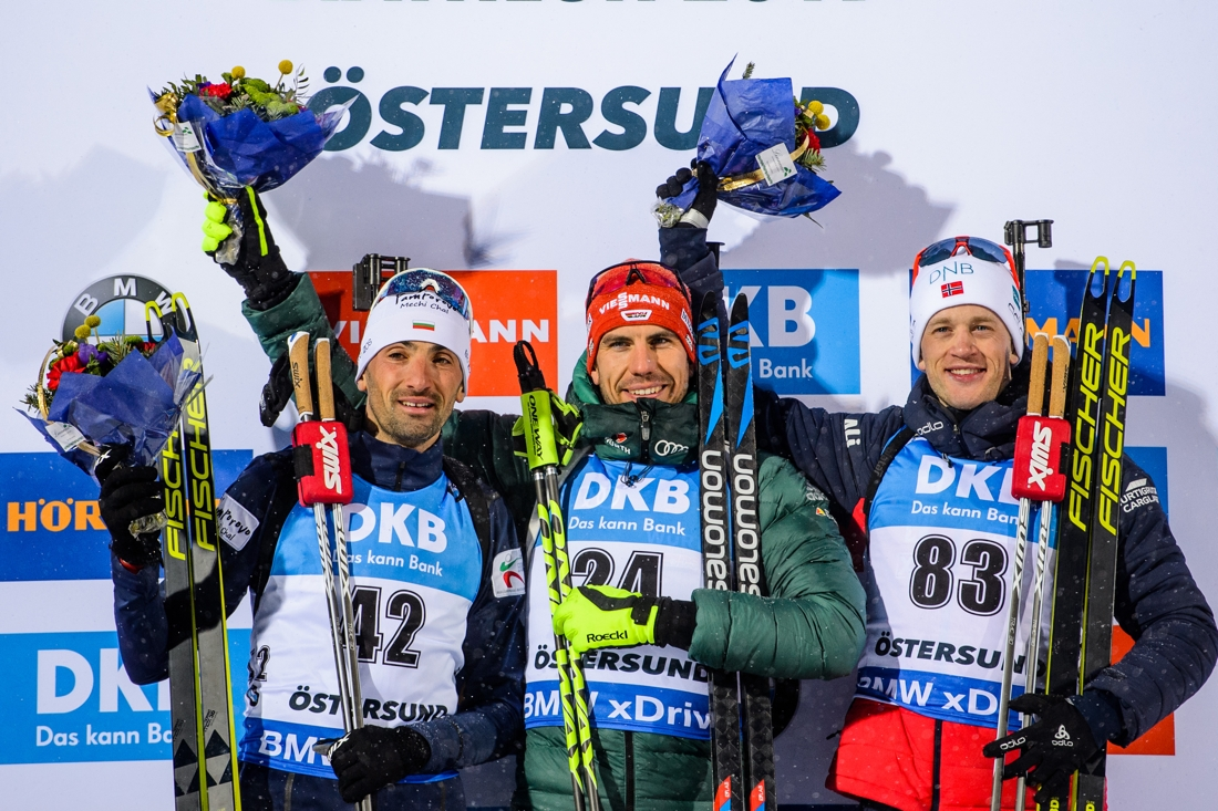 Medaljtrion Vladimir Iliev, Arnd Peiffer och Tarjei Bö. FOTO: Petter Arvidson/Bildbyrån.
