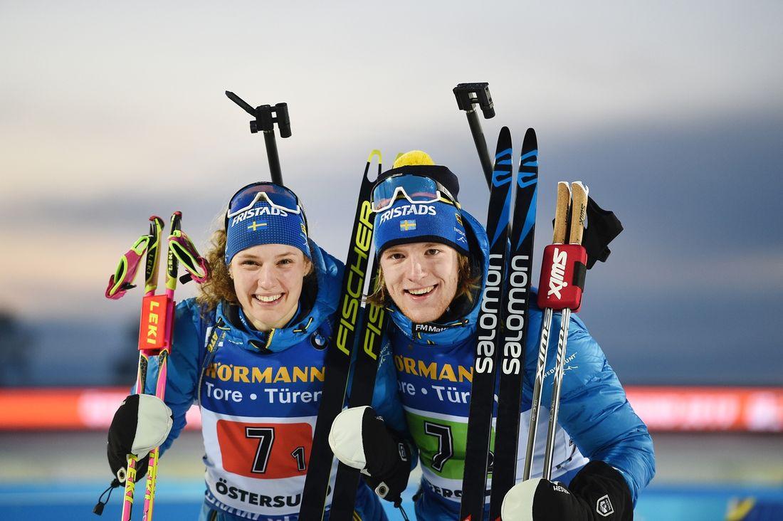 Hanna Öberg och Sebastian Samuelsson tog brons på singelmixstafetten vid VM i Östersund. FOTO: Petter Arvidson/Bildbyrån.