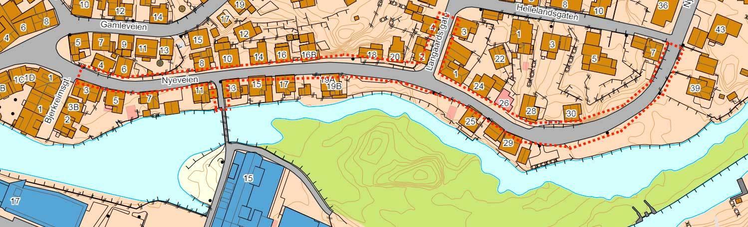 Kart over Nyeveien i Egersund