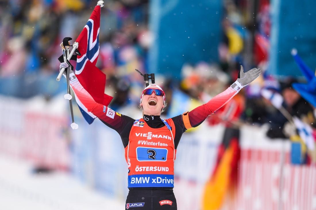 Marte Olsbu Röiseland förde Norge till guld. FOTO: Petter Arvidson/Bildbyrån.