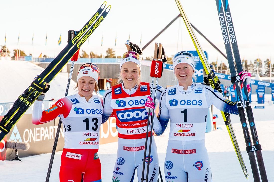 Topptrion, Falla, Nilsson och Dahlqvist, på sprinten i Falun. Trion ligger också topp tre i sprintvärldscupen inför säsongens sista lopp i Kanada. FOTO: Daniel Eriksson/Bildbyrån.