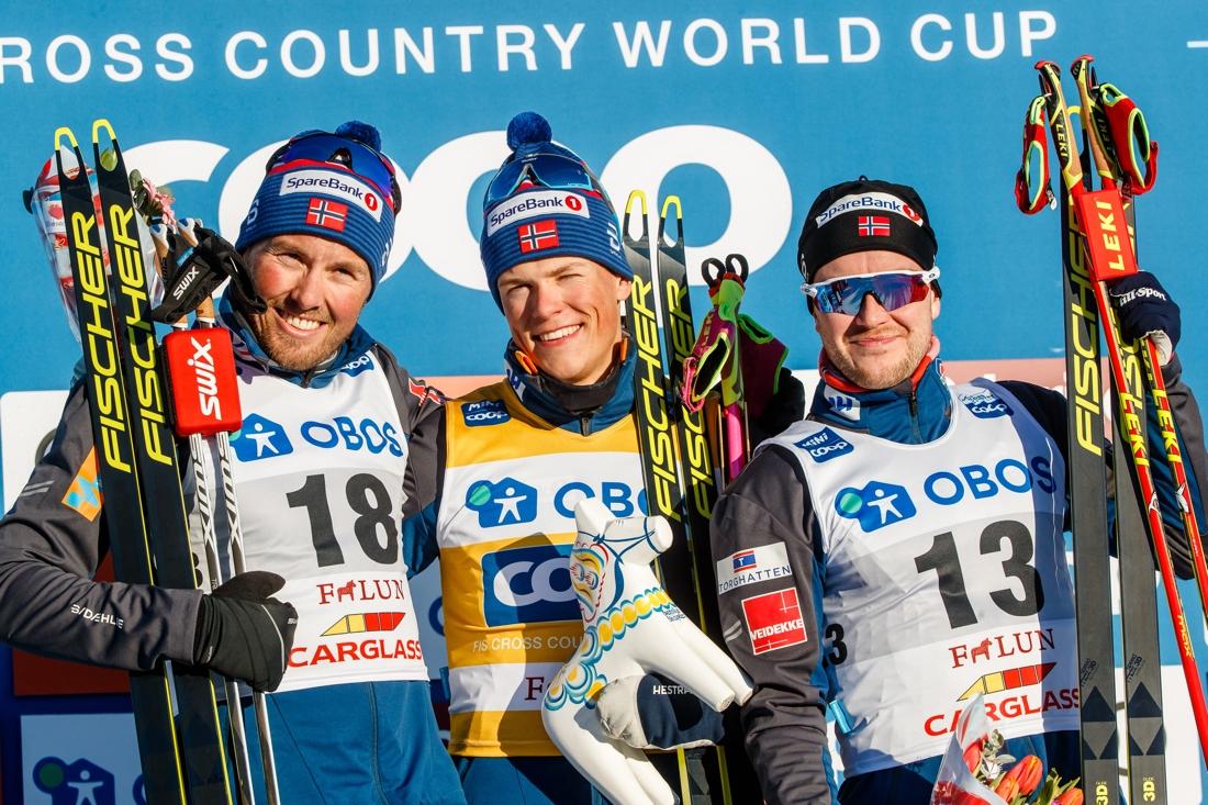 Emil Iversen, Johannes Hösflot Kläbo och Sindre Björnestad Skar fixade en helnorsk pall i  Falun. FOTO: Daniel Eriksson/Bildbyrån.