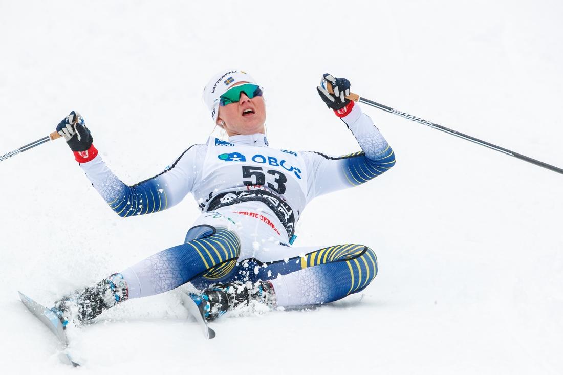 Sprintspecialisten Maja Dahlqvist imponerade på hemmaplan med en stark niondeplats. Majas bästa distanslopp någonsin. FOTO: Daniel Eriksson/Bildbyrån.