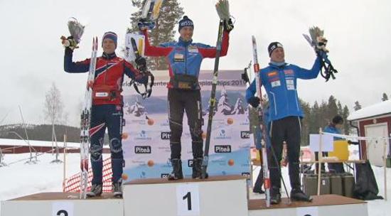 Herrpallen med silvermedaljören Lars Moholdt, guldmannen Andrey Lamov och bronsmedaljören Tero Linnainmaa.