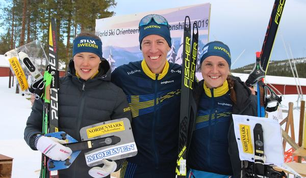 Tove Alexandersson och Erik Rost vann guld och Magdalena Olsson silver när VM-sprinten i skidorientering avgjordes i Piteå. FOTO: Mårten Lång/Svenska orienteringsförbundet.