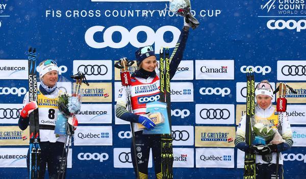 Svensk sprintsuccén i Kanada med trion Jonna Sundling, Stina Nilsson och Maja Dahlqvist. FOTO: GEPA pictures/CH Kelemen/Bildbyrån.