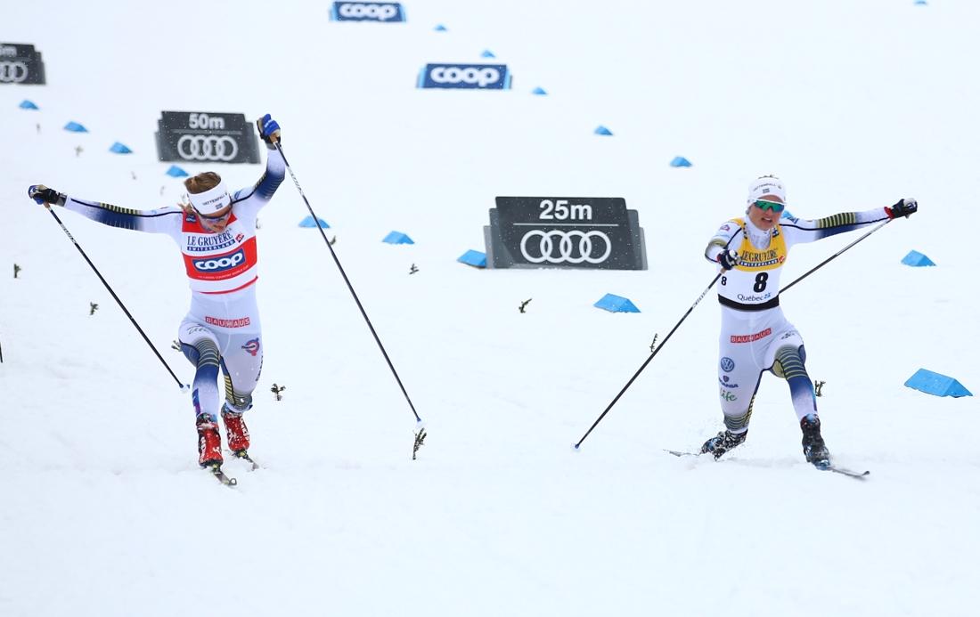 Målgången mellan Stina Nilsson och Maja Dahlqvist var supertight. FOTO: GEPA pictures/CH Kelemen/Bildbyrån.