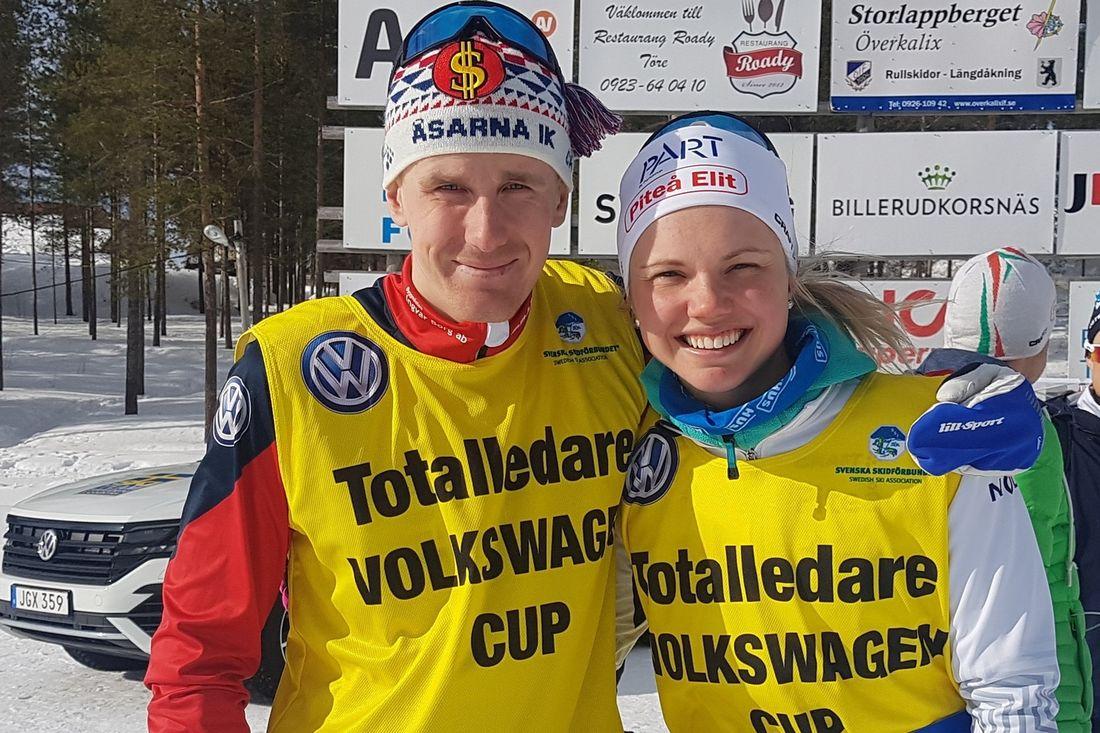 Segrarna i Volkswagen cup 2018-2019: Marcus Ruus, Åsarna IK och Emma Ribom, Piteå elit. FOTO: Svenska skidförbundet.