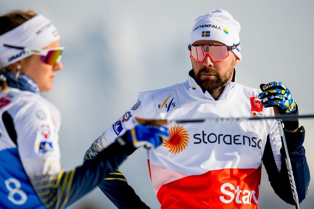 Rikard Grip lämnar posten som landslagschef. Här är Rikard tillsammans med Stina Nilsson under VM i Seefeld. FOTO: Vegard Wivestad Grött/Bildbyrån.
