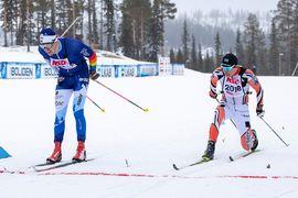 Klas Nilsson tog spurten precis före Viktor Mäenpää på fem mil långa NSD Classic i Gällivare. FOTO: Michael Renström.