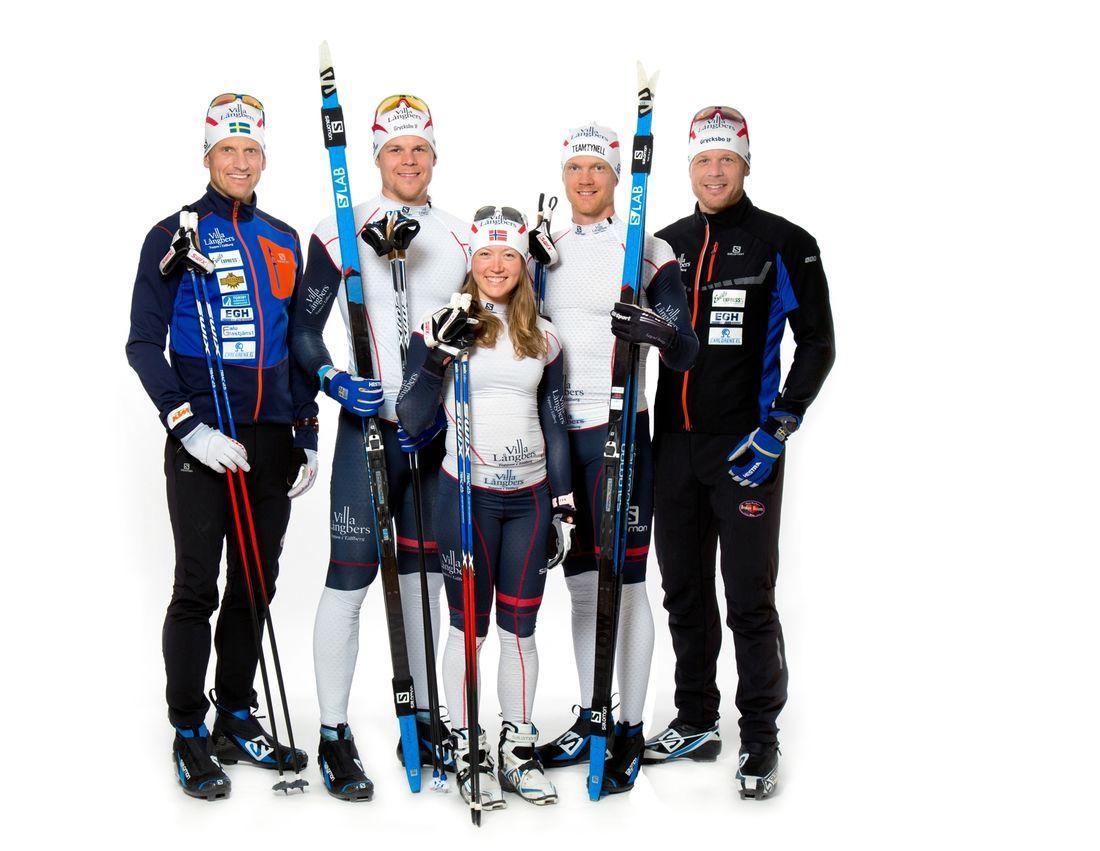 Team Tynell lägger ner sitt långloppsteam. Fr.v. Jerry Ahrlin, Rikard Tynell, Laila Kveli, Jens Eriksson och Daniel Tynell. FOTO: Fotograf Heléne, Falun.