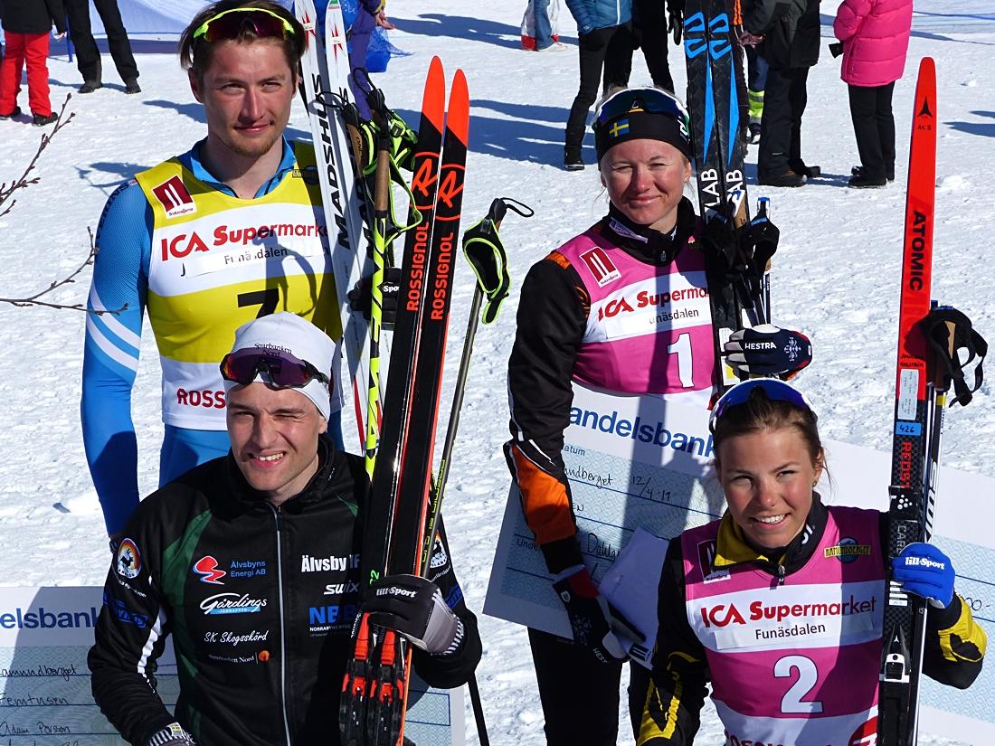 Finalkvartetten Persson, Hortlund, Dahlqvist och Hagström sken ikapp med solen. FOTO: Johan Trygg/Längd.se.