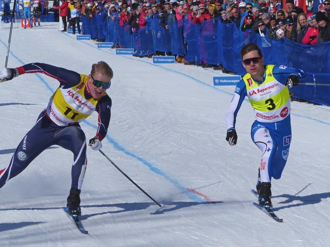 Emil Hagström slog ut världscupåkaren Martin Bergström i kvartsfinalen. FOTO: Johan Trygg/Längd.se.