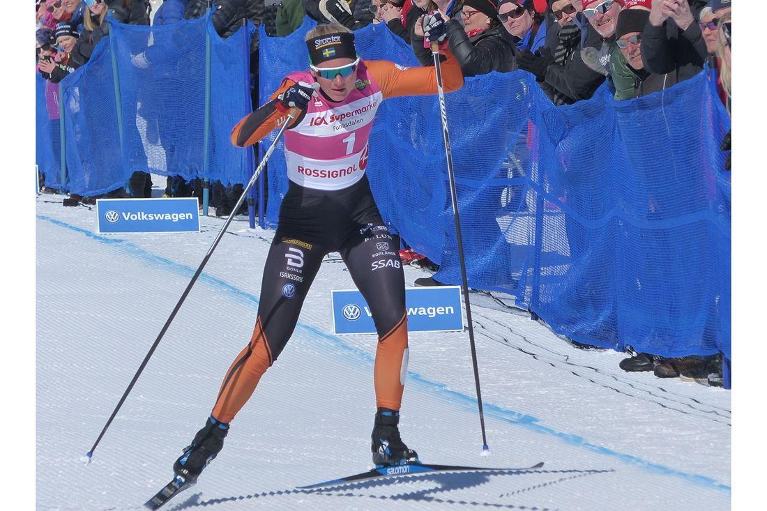 Maja Dahlqvist, Falun Borlänge SK, slog nytt världsrekord på 100 meter supersprint vid tävlingar i Ramundberget. FOTO: Johan Trygg/Längd.se.