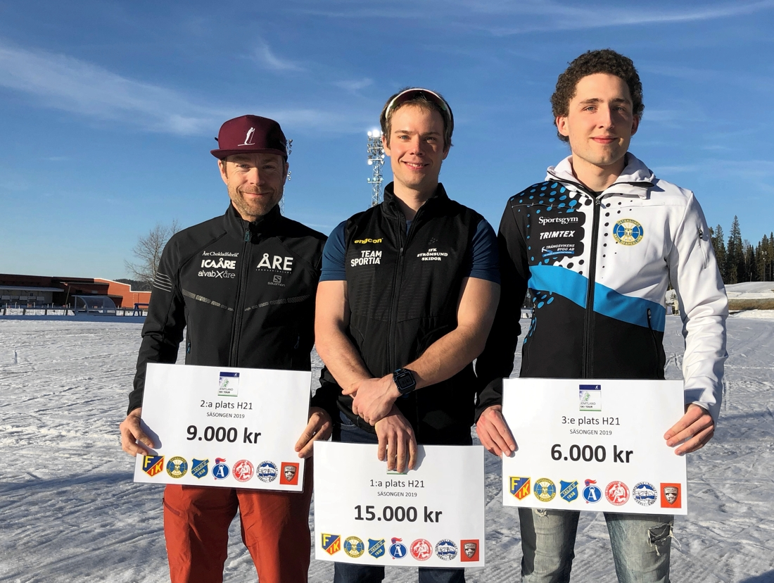 Topp tre i H 21 på JemtlandSkiTour. Fr.v. John Lagerskog tvåa, Magnus Näslund etta och MarkusLassus Bjälnes trea.