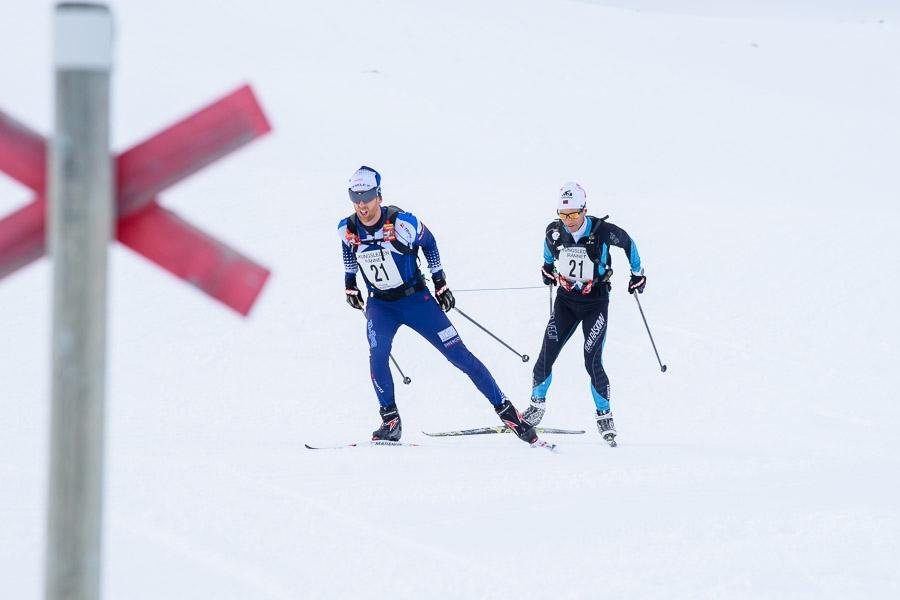 Martin Rosvall och Kent Murdoch, på väg mot Viterskalsstugan under Kungsledenrännet. FOTO: Kungsledenrännet.