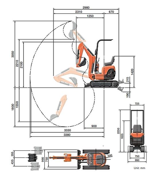 Gravemaskin Kubota U10-3 Arbeidsområde Dimensjoner[1].JPG