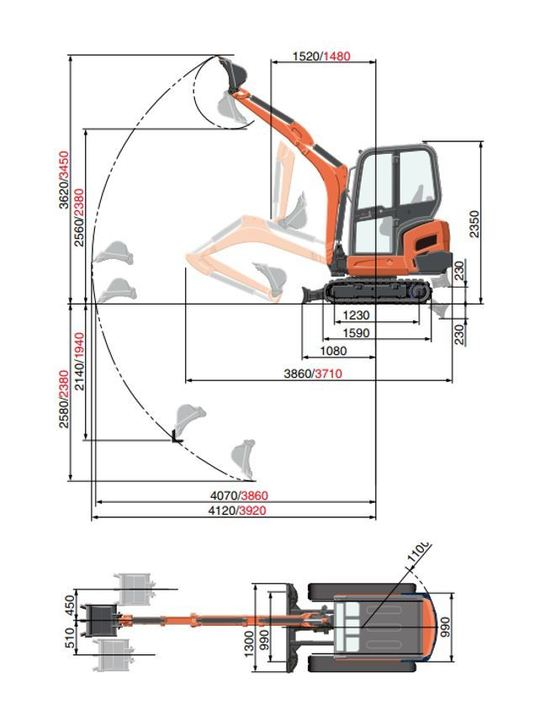 Gravemaskin Kubota KX019-4 Arbeidsområde Dimensjoner[1].JPG
