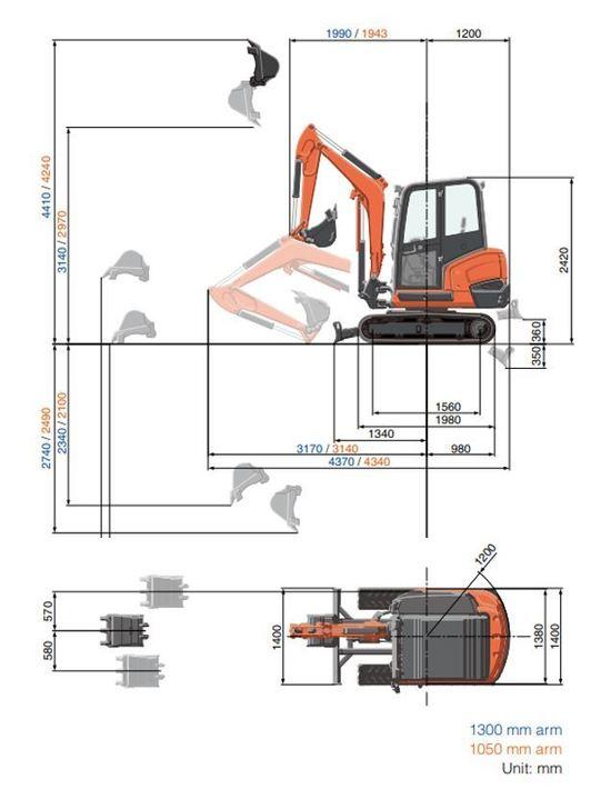 Gravemaskin Kubota KX027-4 Arbeidsområde Dimensjoner[1].JPG