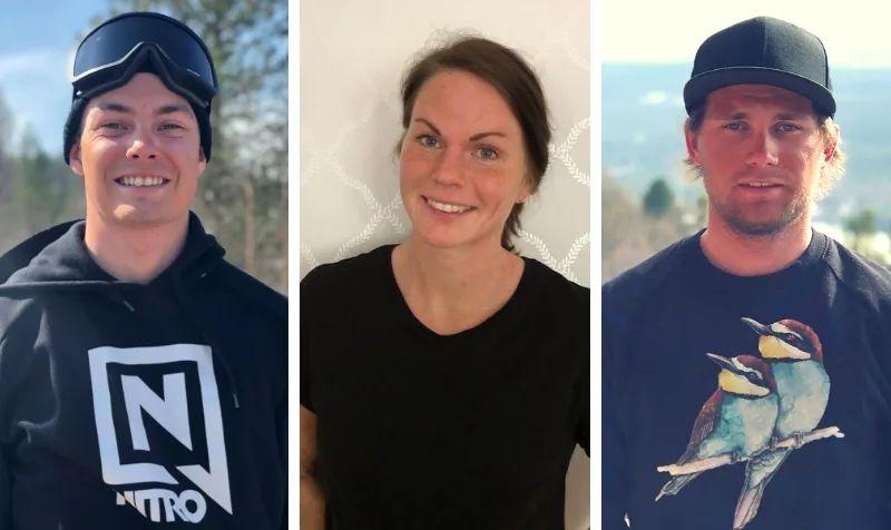 2019-års stipendiater i Kungens fond för unga ledare på snö. Fr.v. Calle Sköld, Emma Eriksson och Jesper Thomsson. FOTO: Privata.