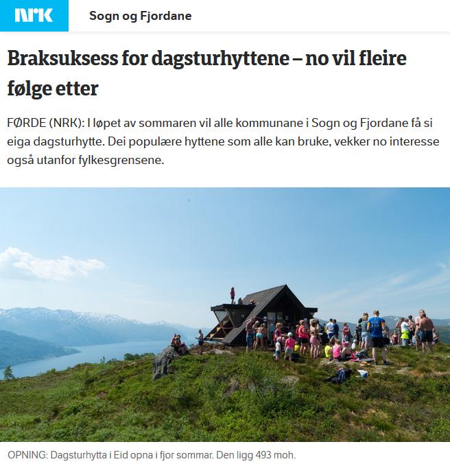 Bilde av såkalt Dagsturhytte i Sogn og Fjordane
