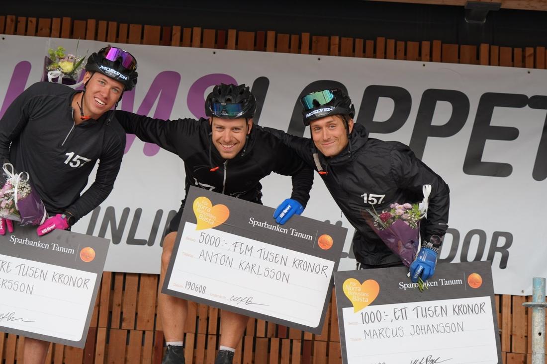 Topp tre i herrklassen. Fr.v: Emil Persson, tvåa, Anton Karlsson, etta och Marcus Johansson, trea. FOTO: Lager 157 Ski Team.